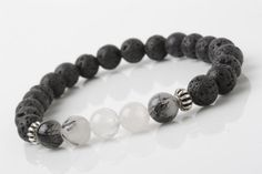 Tourmaline and lava stone bracelet, Lava Stone stretch bracelet, men bracelet, black Stone bracelet, yoga bracelet, Black bracelet by CharmanteBijoux on Etsy