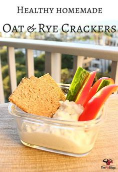 These oat and rye crackers are very easy to make, 100% clean and excellent dip scoopers. Mix up a batch and serve with hummus or, as we have here, cottage cheese and veggies