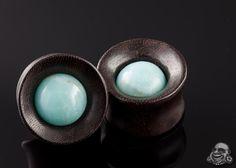Katalox wood Mayan flare plugs with amazonite inlays