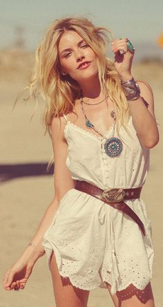 Sexy eyelet embellished boho chic romper and modern hippie leather belt with American Indian inspired necklace. FOLLOW »»»  https://www.pinterest.com/happygolicky/the-best-boho-chic-fashion-bohemian-jewelry-gypsy-/ «« NOW for the BEST Bohemian fashion trends.