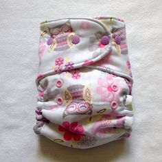 One Size Fitted Hybrid Pastel Owls Diaper by PsalmBaby on Etsy