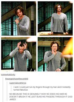 Jared Padalecki, How? Jensen Ackles, Jared And Jensen, Mark Sheppard, Sam Winchester, Jared Padalecki, Misha Collins, Castiel, Hair Gif, Supernatural Memes
