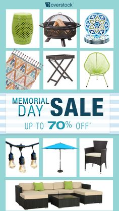 Start saving up to 70% off on home essentials during Overstock's Biggest Ever Memorial Day Sale! Hurry! Sale ends Monday, May 29th.