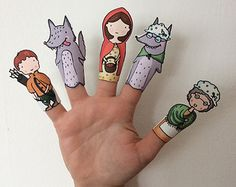 Little Red Riding Hood Paper Finger Puppets By Curmilla, Printable PDF, Capuercita, Cappuccetto Rosso Fairy Tale Activities, Preschool Activities, Little Pigs, Little Red, Art For Kids, Crafts For Kids, Paper Puppets, Toilet Paper Roll Crafts, Red Hood