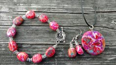 Ready to Ship Jewelry Set Colorful Carnival Colors Handcrafted Artisan Polymer Clay Necklace, Earrings, Bracelet Unique Christmas Gift by DeannasEtsyShop on Etsy