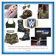 """""""SD LIVE woman's championship match at Great Balls of Fire- Missy vs Naomi"""" by magick-bean ❤ liked on Polyvore featuring Vibrant, Soda, WWE, Boohoo, Ann Taylor and Heller"""