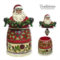 """JIM SHORE  SANTA WITH ORNAMENT CONTAINER  Resin 10x5.5"""""""