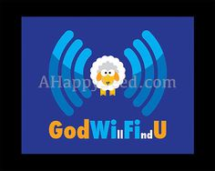 God WiFi Printable Fun Christian Poster Instant JPG by AHappySeed