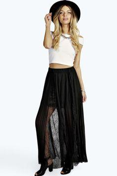 Leyla Boutique Lace Insert Pleated Maxi Skirt alternative image