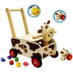 Walk and Ride Cow Sorter-I'm Toy-Wooden World-Educational-Toys Australia Imagination Toys, Discovery Toys, Push Toys, Educational Toys For Toddlers, Wooden Baby Toys, Ride On Toys, Infant Activities, Toy Sale, Toddler Toys