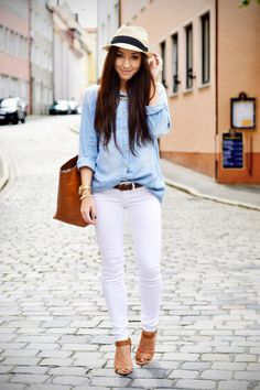 White Skinny Jeans And Bleached Denim Shirt