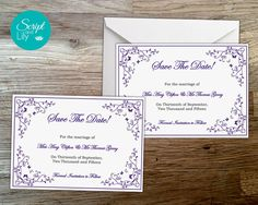 Save The Date Card Template  INSTANT DOWNLOAD  by ScriptAndLily