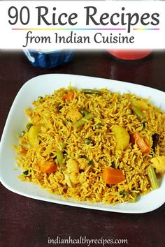 Rice recipes from Indian cuisine. A collection of 90 easy, healthy & delicious Indian rice dishes. Recipes include one pot varieties like pulao, biryani, khichdi, curd rice, lemon rice & many traditional dishes. #ricerecipes #rice #recipes #indianfood