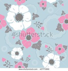 Seamless wall-paper nostalgic flowers, light blue background. Gentle flowers anemones in a retro style. Vector, EPS10. A print for fabric, packing paper, wall-paper, cards, etc.