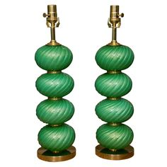 Pair of 1950s Stacked Green Opaline Murano Lamps by Barovier Incredible Stough dining room