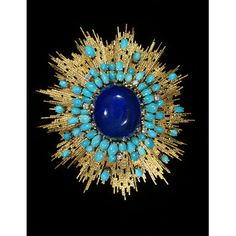 Lapis, turquoise and diamond brooch, V London