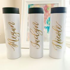 A great gift for coffee lovers on the go! Enjoy coffee in this personalized travel mug. This is the perfect gift for a wedding, bridesmaid gift, teacher gift, or just a travel mug for yourself! This listing is for 1- 16 oz, stainless steel travel coffee mug. Designs are applied on the travel mugs using a premium commercial quality outdoor graphic vinyl in gold. Text is handwritten, digitized, printed out on vinyl, and applied to the personalized travel mug.  When purchasing, please include…