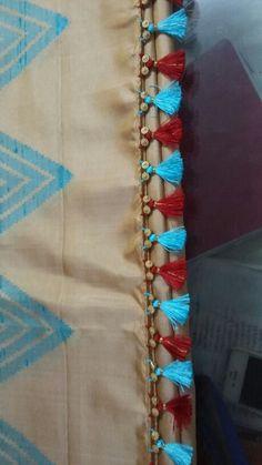 Awesome Pics of Saree Kuchu Design Patterns - FashionShala Saree Tassels Designs, Saree Kuchu Designs, Rangoli Designs, Blouse Designs, Hand Embroidery Dress, Hand Embroidery Designs, Saree Accessories, Lace Saree, Saree Border