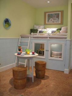 Stunning Attractions On Kids Playroom Ideas: Minimalist Kids Playroom Ideas Bunk Bed Design Ideas Finished With Blue Color Of Tile Material With Wooden Stool Design Idea ~ CLAFFISICA Kids Room Inspiration Inside Playhouse, Indoor Playhouse, Playhouse Bed, Toddler Playhouse, Playhouse Ideas, Kid Beds, Bunk Beds, Loft Beds, Kura Ikea