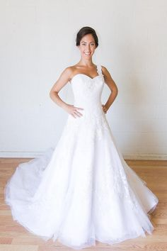 Unique David Tutera one shoulder wedding dress for rental or sale on Borrowing Magnolia Save money on designer wedding gowns