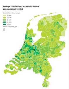 Average standardized household income in the Netherlands, per municipality, 2011