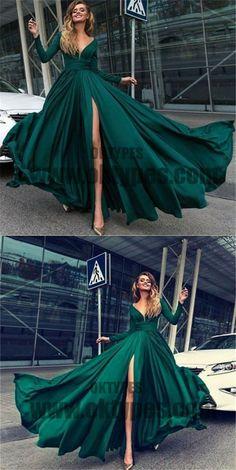 2018 sexy v-neck prom dress long sleeve high slit evening dress dark green prom gowns, TYP0422 #promdresses