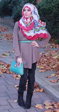 Aalia (author of Aalia's hijab styling guide) outfit of the day All Fashion, Modest Fashion, Fashion 2015, Moslem Fashion, Hijab Collection, Hijab Look, Muslim Beauty, Hijab Fashionista, Modest Outfits