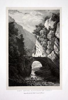 1824 Court Moutier Birs Brücke Jura - Schweiz Suisse Lithographie Villeneuve.
