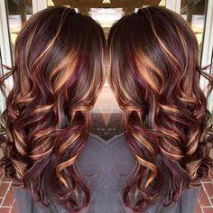 morena de pelo-color-con-pulido-rubia-destacados-rizado-largo-peinados-2017