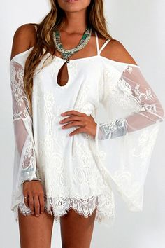 Spaghetti Strap Cross See-Through Lace Dress #summer #delicate