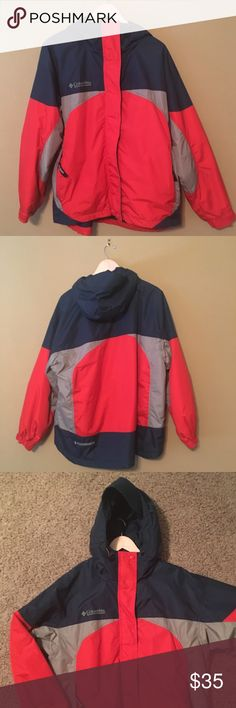 Colombia Jacket Only worn once Columbia Jacket, size L, dark orange, gray and dark hunter teal. One inside pocket and two zip pockets on the sides. This jacket is like new! Columbia Jackets & Coats