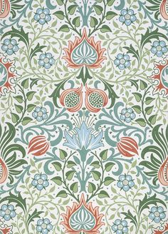 William Morris Persian Design Counted Cross Stitch Chart by Orenco Originals. William Morris: This design was created from the works of the artist William Morris. William Morris's Persian Flower Design from Tapestry In The Arts and Crafts Style. William Morris Wallpaper, William Morris Art, Morris Wallpapers, Floral Wallpapers, Of Wallpaper, Designer Wallpaper, Thistle Wallpaper, Art Nouveau Wallpaper, Pattern Wallpaper