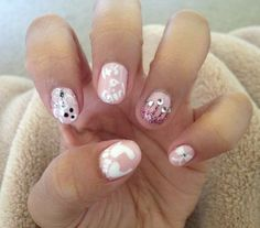 It's a girl! Nail design by Adrianna Mendoza Great for a baby shower