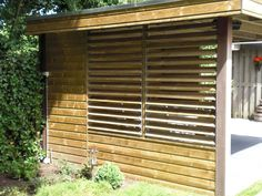 Lamellen schutting - geopend en gesloten te gebruiken net als horizontale lamellen en shutters Gazebo, Pergola, Bonsai Garden, Jacuzzi, Blinds, Curtains, Privacy Screens, Outdoor, Garden Ideas