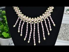 How to Make Beaded Tassel Necklace with Pearls and Crystals #Seed #Bead #Tutorials