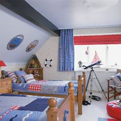 5 Navy-Themed Boys Bedrooms To Inspire You   Shelterness - Like the idea of a telescope