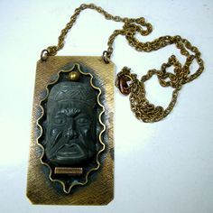 Mayan Incan Face Pendant on Brass Stone by VintageStarrBeads