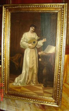 Antique American Italian Oil Painting Lady Portrait with Mandolin John Califano #Realism