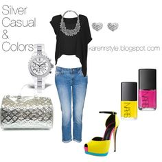 Silver Casual & Colors, created by karenrstyling on Polyvore