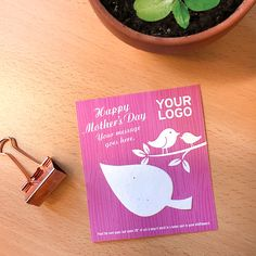 A branded card with a leaf to plant and grow. Mothers Day Logo, Happy Mothers Day, Message Logo, Mother's Day Promotion, Feeling Appreciated, Seed Paper, Green Business, Eco Friendly Paper, Flower Shape