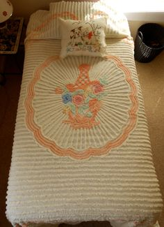 Vintage chenille bedspread, twin size, white, peach, gold, mint and blue flower and bow design