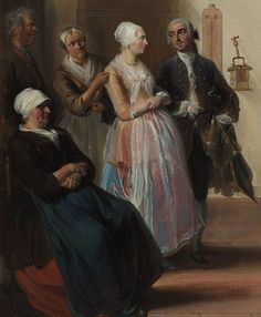 """1741. Detail of """"Het beslikte Zwaentje"""" (the court house at Puyterveen) by Cornelis Troost.  Women -- Clothing & dress -- 1700-1799 -- Netherlands. 18th century Dutch costume.  One lady has a dark blue apron, another has a nearly transparent white apron."""