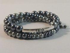 Blue Pearl Faith Love Joy Bracelet  by SaveTheWildHorseCrea, $19.50