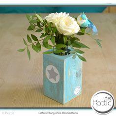 Vasen - Shabby Blumenvase türkis Holz Vasenhalter Glas - ein Designerstück von Peetie-Holzdesign bei DaWanda
