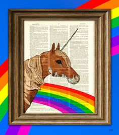Shimmer Glitz the Rainbow Unicorn of Love and Sprinkles illustration dictionary page book art print