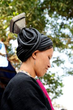 Asia | Black Dao woman with traditional headdress, Lai Chau, Vietnam | © Jean-Christophe Huet