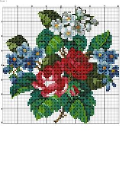 Red rose and flowers chart