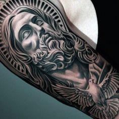 Male Realistic Dove Tattoo Half Sleeve