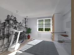Kompleksowy projekt mieszkania w bloku. Sypialnia. Fototapeta. Meble Ikea.