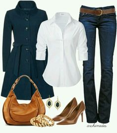 White Shirt Or White Blouse + Jeans + Brown Bag + Brown Shoes + Brown Accessories + Navy Coat = Great Casual Outfit Or Work Outfit Mode Outfits, Fall Outfits, Casual Outfits, Fashion Outfits, Fashion Ideas, Fasion, Classic Outfits, Casual Clothes, Summer Outfits